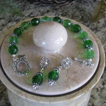 10 Off March Madness Celebrate Green St Patricks Day bracelet with Swarovski toggle clasp and Matching Ornate Crystal Stud Earrings FREE Shipping